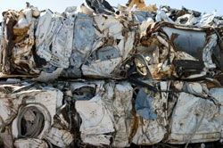 Processed white goods for shipment from metal recycler.
